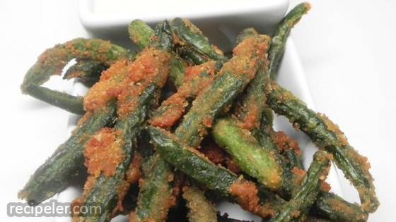 Green Bean Fries with Cucumber Wasabi Dip