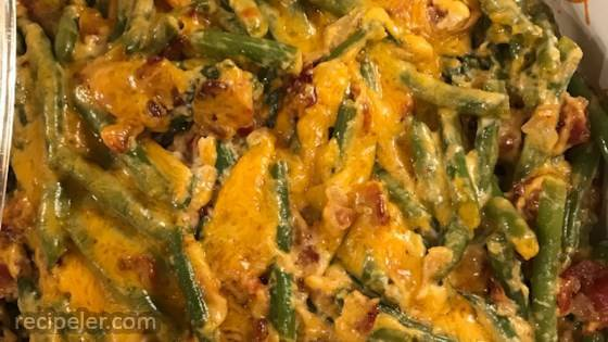 Green Beans with Cheese and Bacon