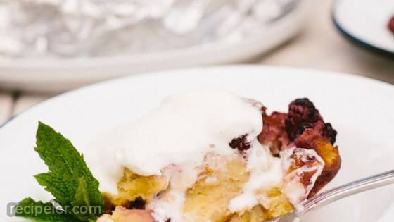 Grilled Blackberry Brioche Bread Pudding