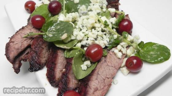 Grilled Flank Steak with Grapes and Stilton
