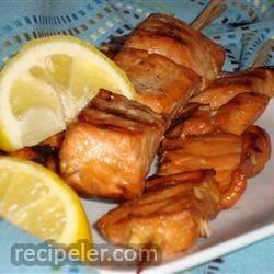 grilled salmon skewers