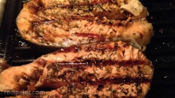 Grilled Salmon Steaks talian-Style