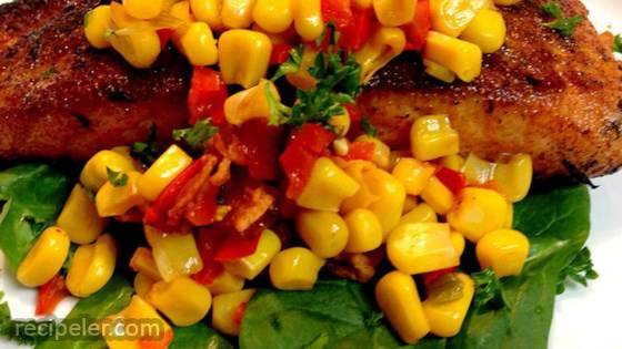 Grilled Salmon with Bacon and Corn Relish
