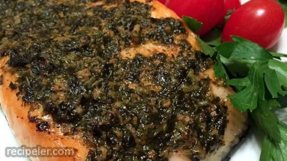 Grilled Salmon With Pesto Crust