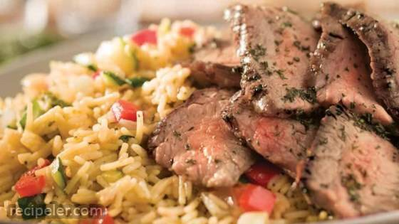 Grilled Steak & Summer Vegetable Rice