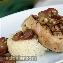grilled tuna steaks with grape and caper salsa