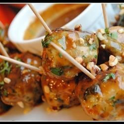 Ground Chicken Meatballs With Sweet Peanut Sauce
