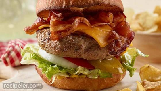 Ground Pork Burger with Smoked Bacon and Cheddar