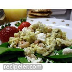ham, basil, and feta scrambled eggs