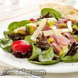 Ham, Garden Vegetable and Spring Mix Salad with Swiss Cheese