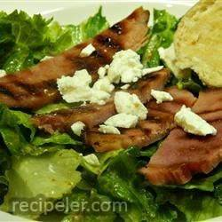 Ham Steak Over Mixed Greens