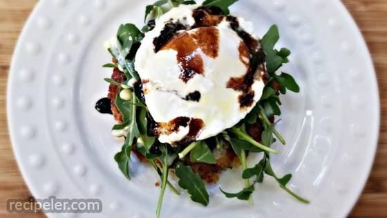 Hash Cake Eggs Benedict with Balsamic Glaze