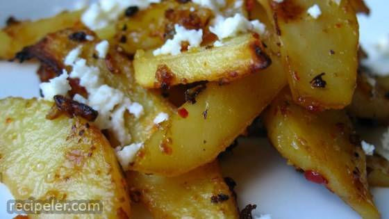 Herbed Greek Roasted Potatoes with Feta Cheese