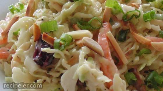 Honey Dijon Mustard and Poppy Seed Coleslaw with Cranberries and Toasted Almonds