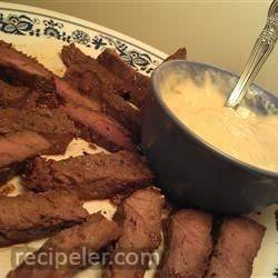 Honey Skirt Steak Appetizer with Horsey Sauce