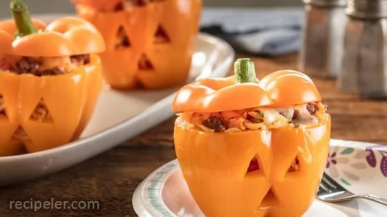 Jack-o'-Lantern Stuffed Sweet Peppers