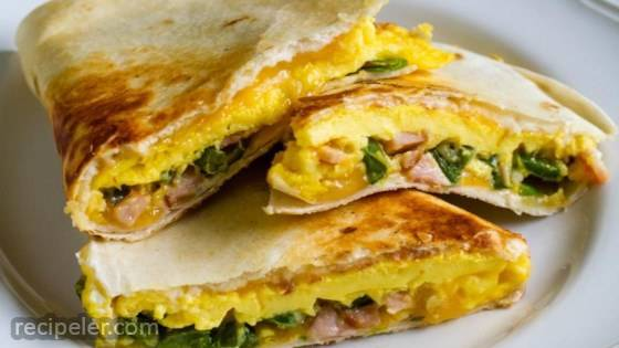 Jalapeno and Canadian Bacon Breakfast Quesadillas