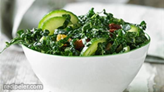 Kale and Cucumber Salad with Lemon Tahini Dressing