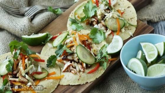 Korean BBQ Chicken Tacos with Sweet Coleslaw