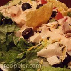 Layered and Tossed Spicy Chicken Taco Salad