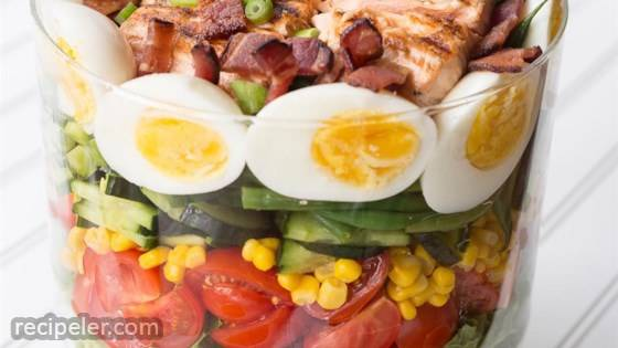 Layered Salmon Cobb Salad