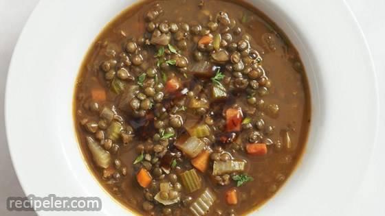 Lentil Soup with Garlicky Vinaigrette