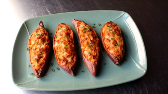 loaded twice-baked sweet potatoes