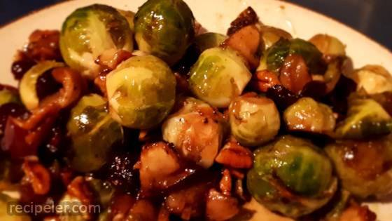 Maple-Roasted Brussels Sprouts with Apples and Cranberries