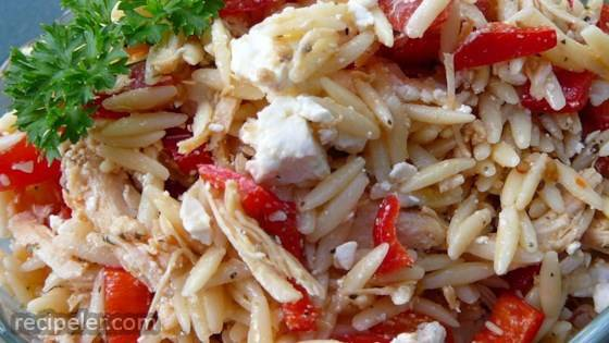 Mediterranean Chicken and Orzo Salad n Red Pepper Cups