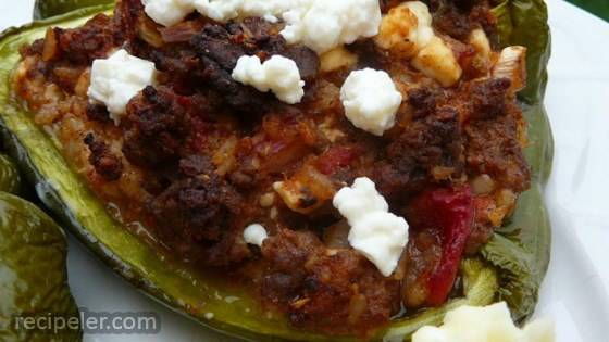 Mexican-Greek Stuffed Green Peppers
