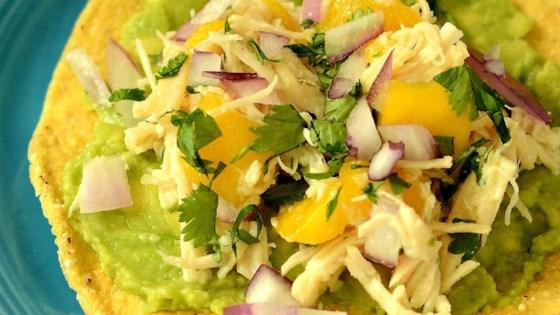 mini chicken and mango tostadas