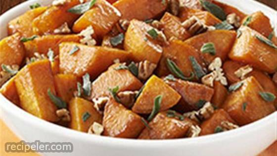 Molasses Glazed Sweet Potatoes with Sage & Pecans