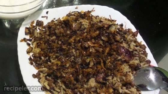 Mujaddara Arabic Lentil Rice