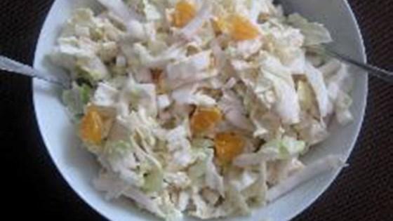napa cabbage salad with mandarin oranges and apple