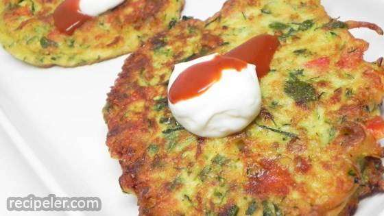 ndian-nfluenced Zucchini Onion Pepper Latkes