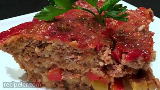 Onion- and Pepper-Stuffed Meatloaf