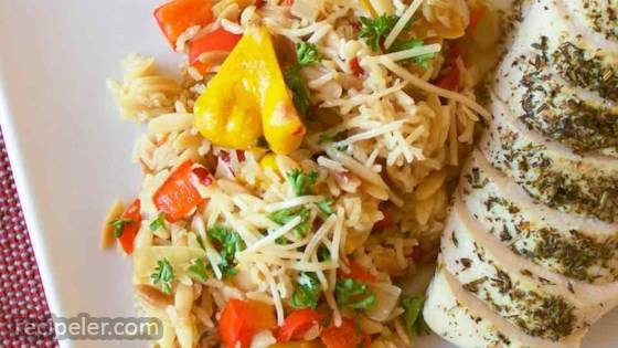 Orzo-Rice Pilaf with Patty Pan Squash and Bell Pepper