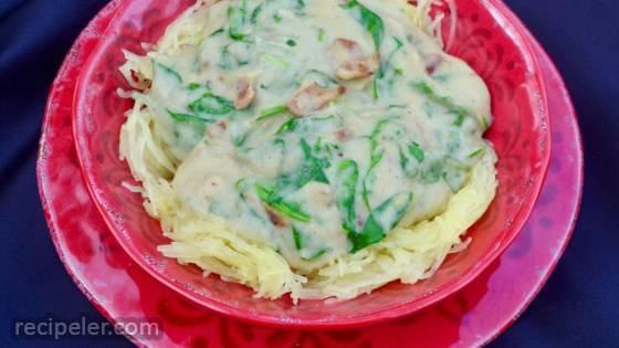 Paleo Spaghetti Squash with Spinach and Bacon Cream