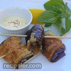 Pan Fried Eggplant with Saffron Mayonnaise
