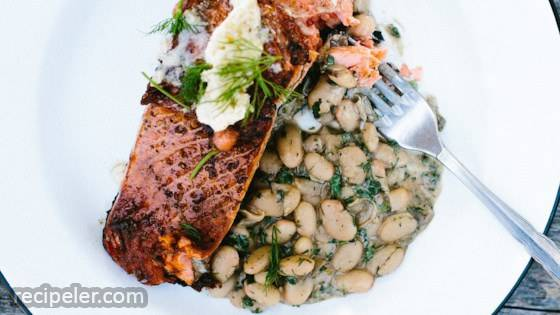 Pan-Roasted Salmon with Lime Butter and Creamy White Beans