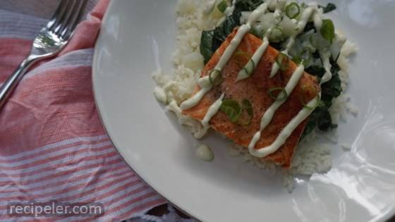 Pan-Seared Salmon with Wasabi Dressing and Bok Choy