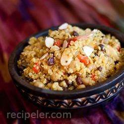 Pantry Curried Quinoa with Garbanzo Beans and Roasted Peppers