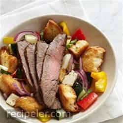 Panzanella Salad with Bison Flank Steak