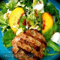 Peachy Turkey Burger over Greens with Endive, Bacon, Avocado, and Gorgonzola
