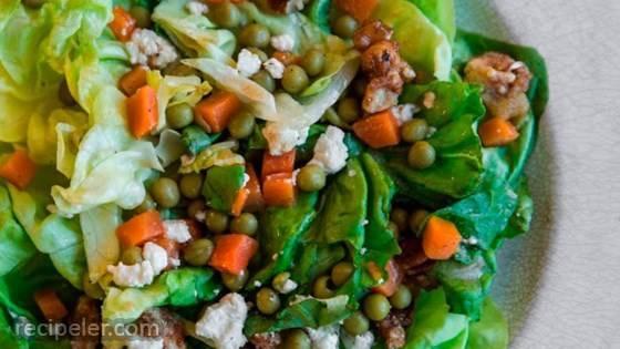 Peas, Carrots & Candied Walnut Salad