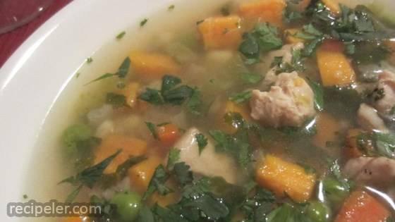 peruvian chicken soup (aguadito de pollo)