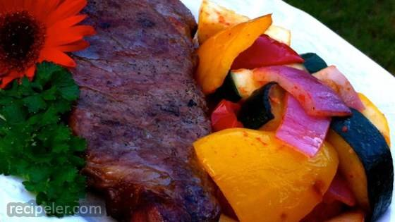 Planked New York Strip Steak with Grilled Veggies