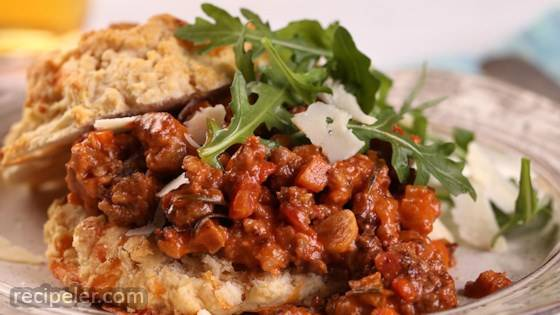 Pork Sausage Bolognese with Cheddar Biscuit