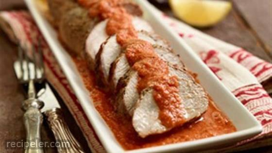 Pork Tenderloin with Low Fat Romesco Sauce