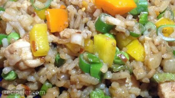 Pork With Fried Rice and Vegetable Casserole